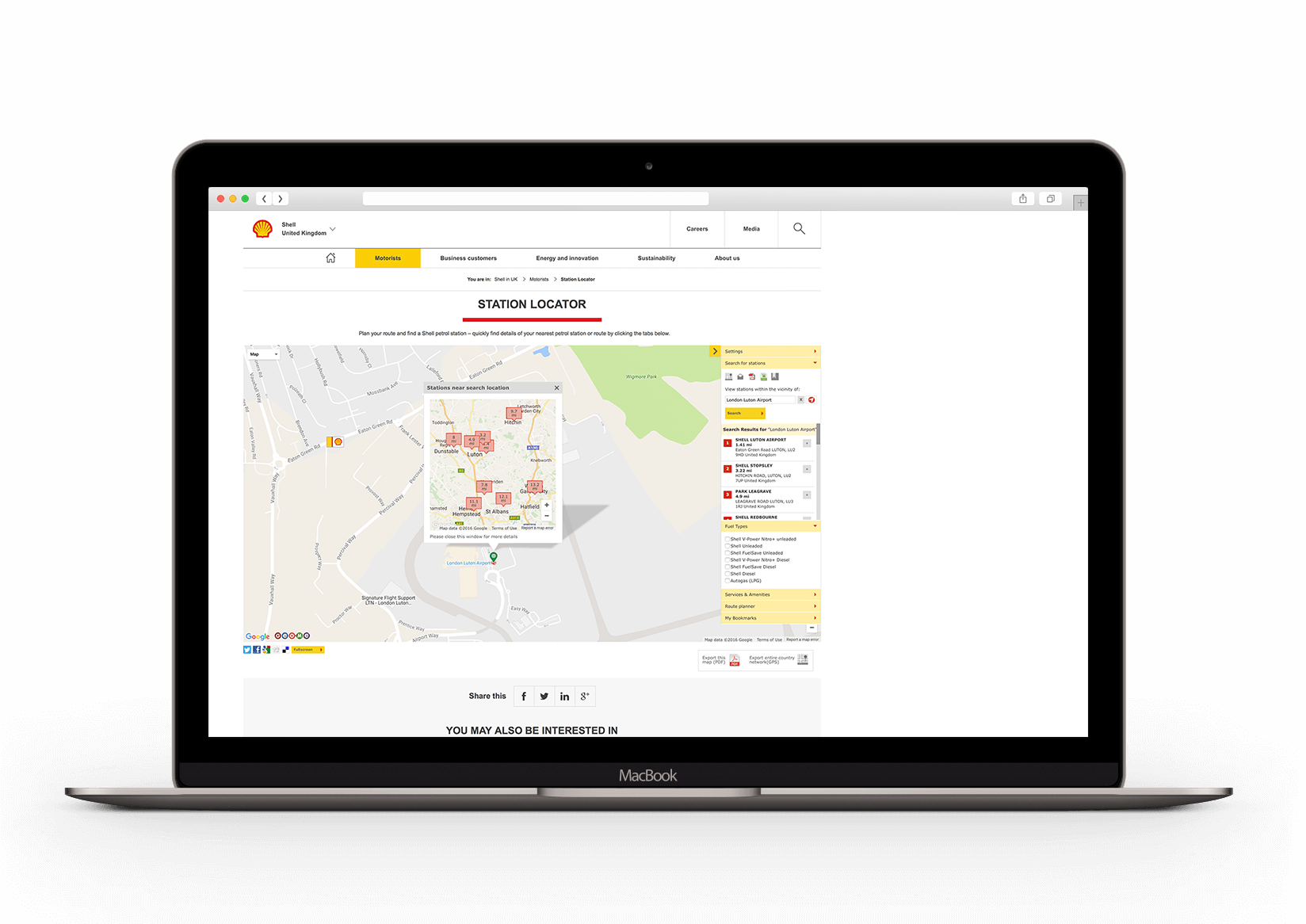 Bespoke web applications agency work for Shell station locator