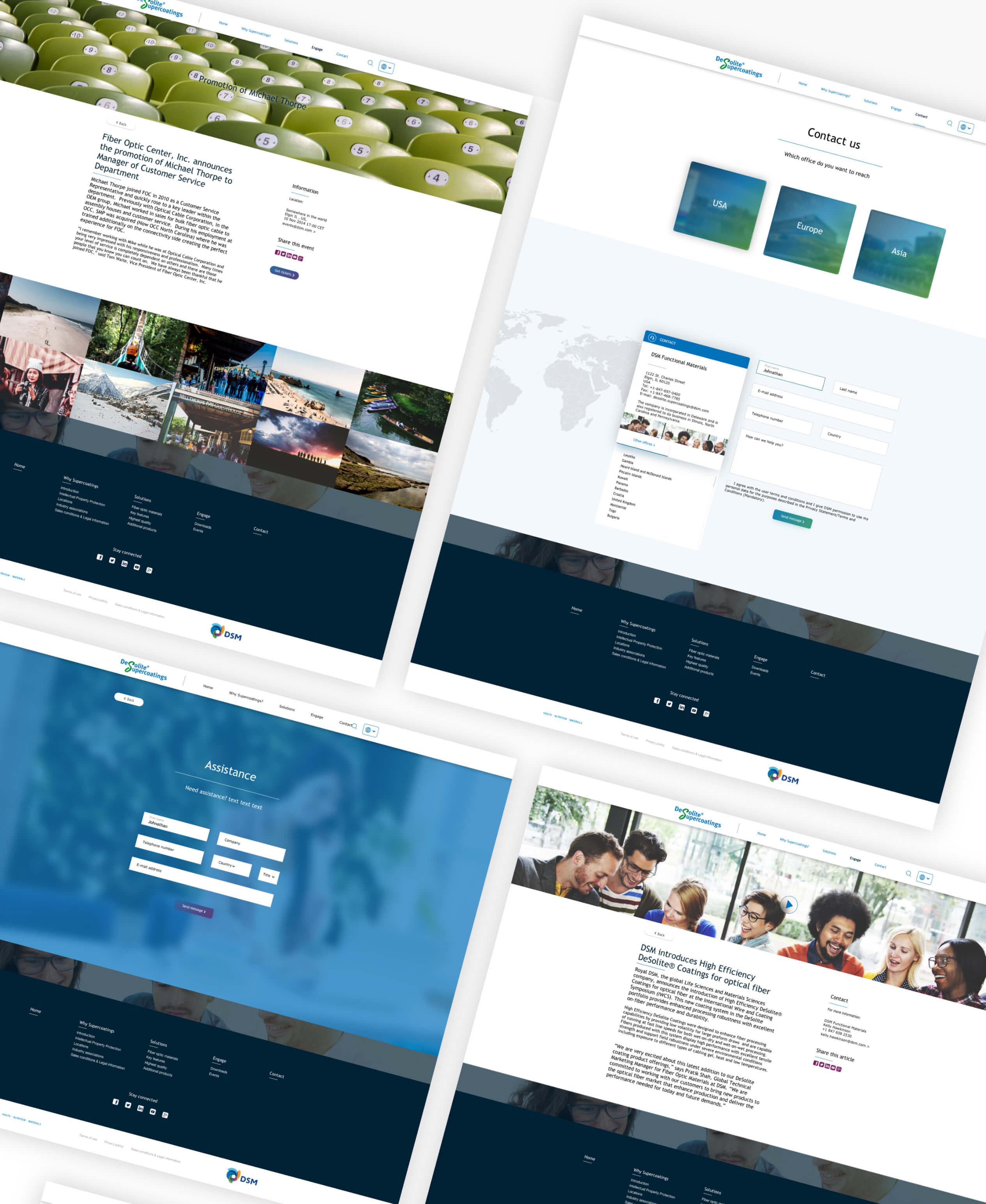DSM Website page designs montage