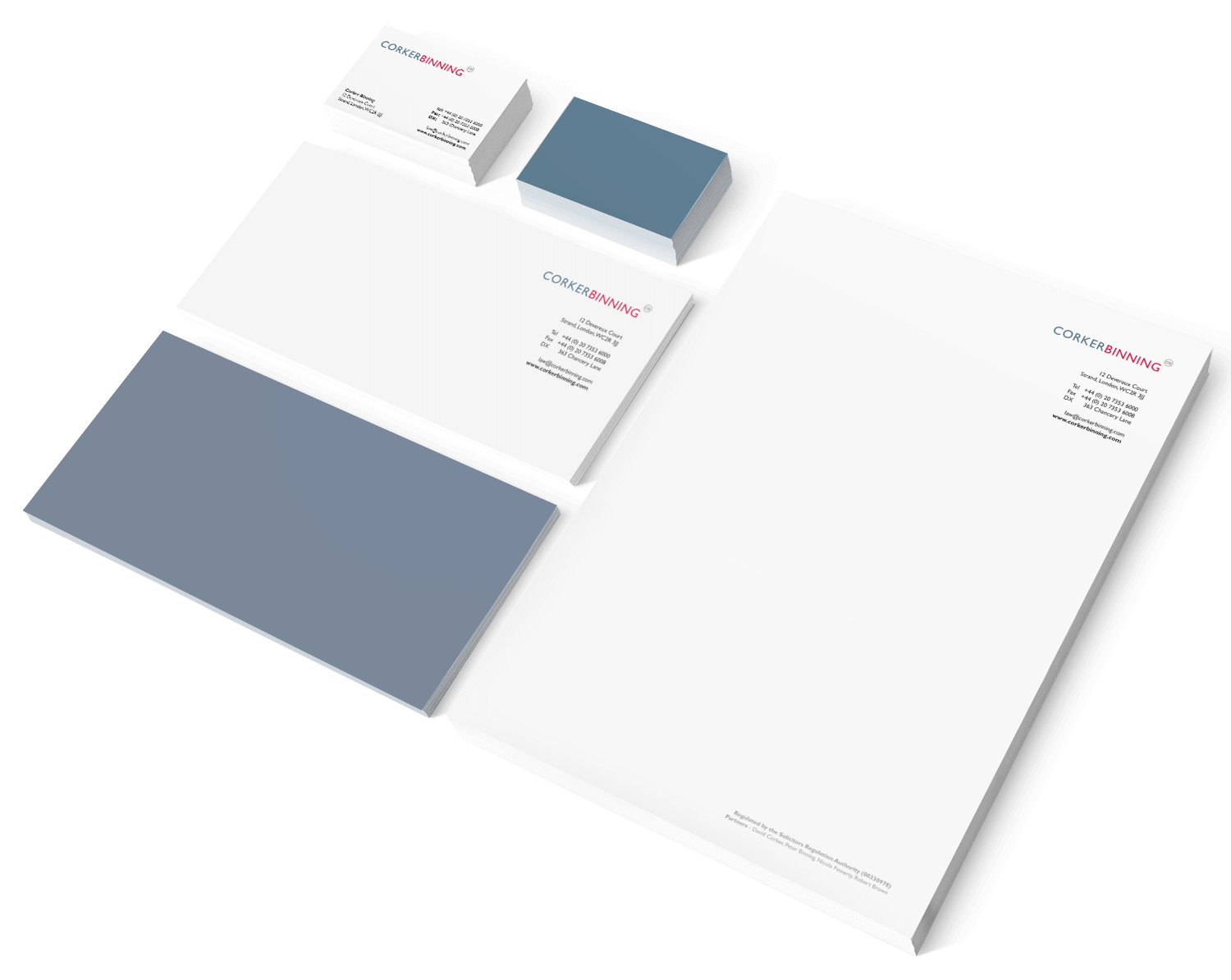 Creative business stationery design for Corker Binning