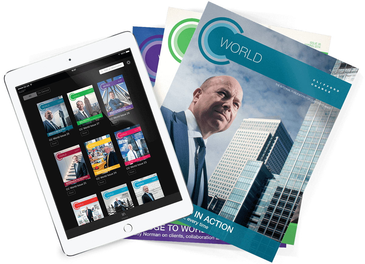 digital corporate publications design for CC World