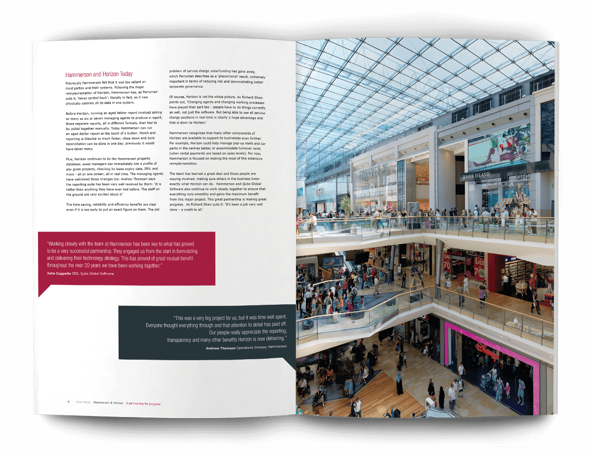 sales and marketing literature design for Qube Global Solutions