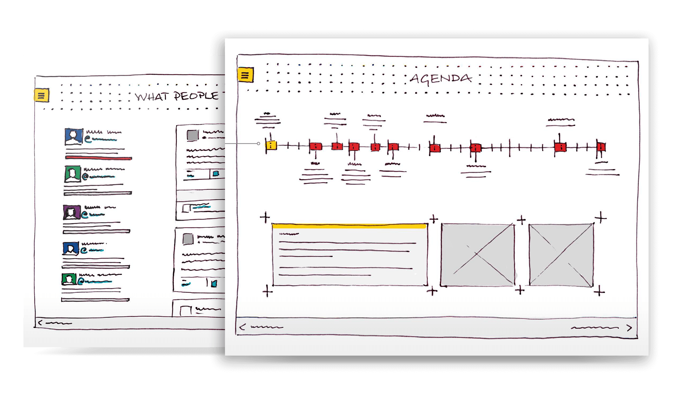 UI and UX design wireframes for Powering Progress